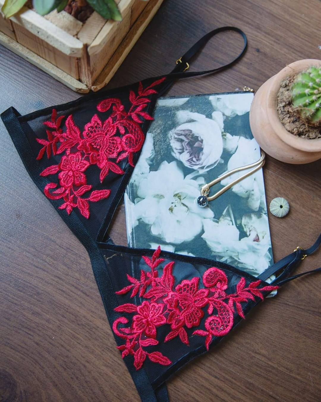 """""""A girl and her bed on Sundays are an endless love affair"""". Spend your Sunday in one of our gorgeous Kaleidoscope Eyes bralettes. This red on black combo might just be our favourite😍💋 #bralette #bra #lingerie #mesh #red #sunday #kaleidoscopeeyes #sundayfeels #love #black #fashion #southafrica #madeinsouthafrica #handmade #bespoke #custommade -visit our Facebook page to see more 💋 xx 📷@bahamaburgundyblog"""